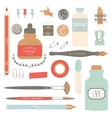 Vintage art tools - pens ink tag stamps vector image