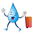 water drop with suitcase on white background vector image