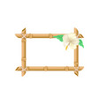 wooden rectangular frame made of bamboo sticks and vector image