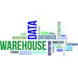 word cloud data warehouse vector image vector image