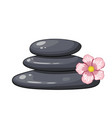 Zen spa stones stack with abstract flower on