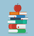 Apple on Stack of books vector image