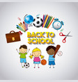 back to school with set supplies vector image