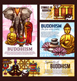 buddhism religion sketch symbols and elements vector image vector image