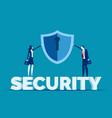 business security team have shield conceptflat vector image vector image