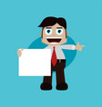 businessman manager at work holding blank sign vector image vector image