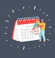 businessman with pencil and calendar vector image
