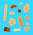 cartoon bakery elements stickers set vector image vector image
