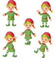 cartoon christmas elves collection set vector image