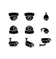 cctv camera icons and symbol in silhouette vector image