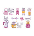 collection of coffee and tea lettering isolated on vector image