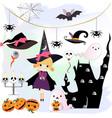 cute sweet halloween witch cartoon vector image vector image
