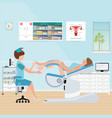 doctor checking patient on gynecological chair in vector image vector image