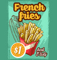 fast food french fries menu sketch poster vector image vector image