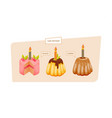 festive sweet cakes and pastries with glaze and vector image vector image