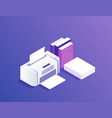 flat design printer with paper and books vector image