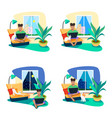 freelancer girl working at home on a laptop vector image vector image