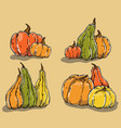 hand drawn pumpkins set vector image
