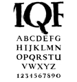handwritten serif alphabet vector image
