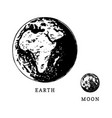images of earth planet and moon satellite in size vector image