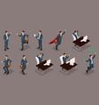 isometric entrepreneurs different scenes working o vector image