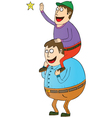 Man with son on shoulders vector image vector image