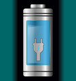 metal with glass battery light blue charge symbol vector image vector image