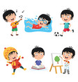 of kids daily routine activiti vector image vector image