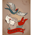 Old-school style tattoo Valentine card with mans vector image vector image