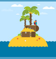 open treasure chest and pirates stuff on a desert vector image vector image