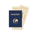 Passport with flight tickets vector image vector image