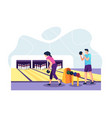 people playing bowling vector image vector image