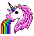 pixel unicorn pukes rainbow isolated vector image