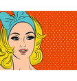 Pop Art of girl with blonde hair vector image vector image