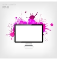 Realistic detalized flat monitor with abstract vector image