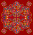 red paisley floral seamless texture vector image vector image