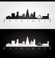 reykjavik skyline and landmarks silhouette vector image vector image