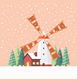 rural windmill covered in snow vector image vector image