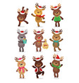 santa s reindeer set of vector image