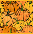seamless pattern with hand drawn pumpkin in vector image vector image