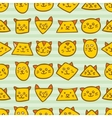 Seamless pattern with orange cat faces on striped vector image vector image