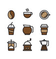 set coffee and drink flat color icons vector image
