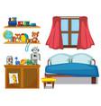 set of bedroom element vector image