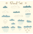set of hand drawn clouds with falling rain and vector image