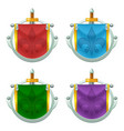 set of knight flag icons with metallic decoration vector image vector image