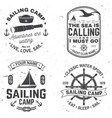 set summer sailing camp badge concept vector image vector image