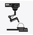 silhouette industrial robot arm working vector image
