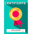 Simple Flat Design Certificate Template - Layout vector image