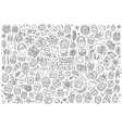 Sketchy hand drawn doodles cartoon set of vector image vector image