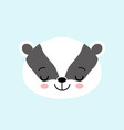 sleeping badger cute black and white cartoon vector image